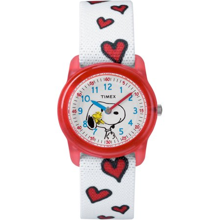 Timex Girls Time Machines Peanuts  White Snoopy And Hearts Watch  Elastic Fabric Strap