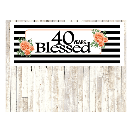 Number 40- 40th Birthday Anniversary Party Blessed Years Wall Decoration Banner 10 x 50inches