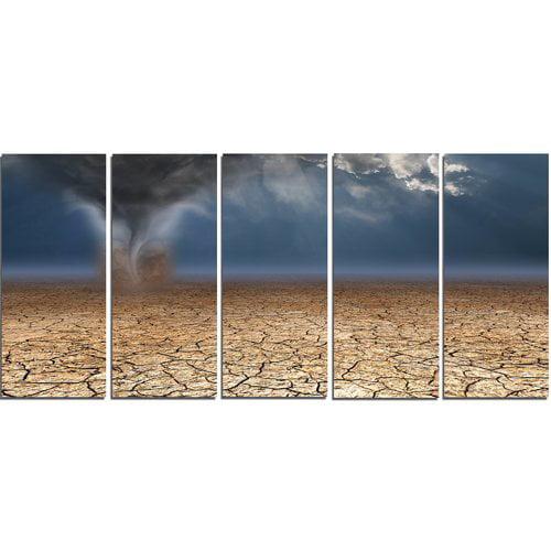 Design Art 'Dust Devil in the Desert' 5 Piece Graphic Art on Wrapped Canvas Set