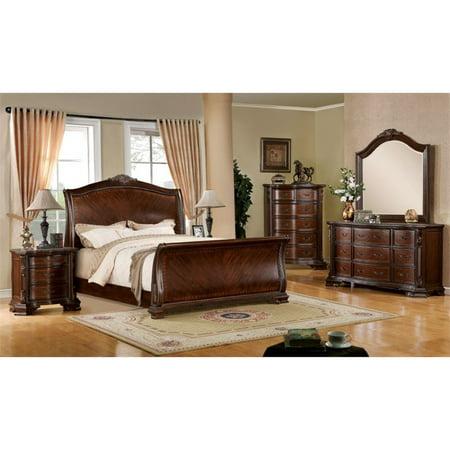 Furniture of america cliffton 4 piece queen sleigh bedroom set for 5 piece queen sleigh bedroom set