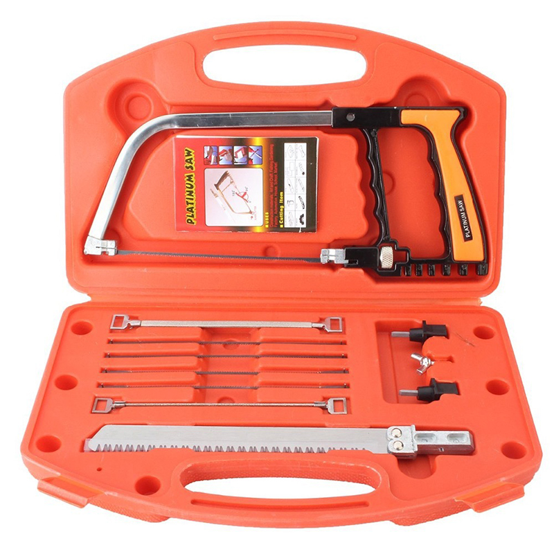 Hand Saw Kits, Multi-purpose 14-in-1 Hacksaw, Wood Saw, Woodworking Tools, Bow Saw, Portable Saw Kit for Cutting Wood, Tile, Glass, Metal, Hunting, Camping, Pruning, Diy Hacksaw Blades Tool Case