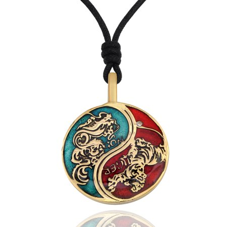 Yin Yang Leather - Blue & Red Tiger Dragon Yin Yang Handmade Brass Necklace Pendant Jewelry With Cotton Cord