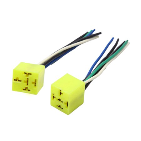 2pcs Yellow Rectangle Relay Socket Wires Cable Harness Connector for on