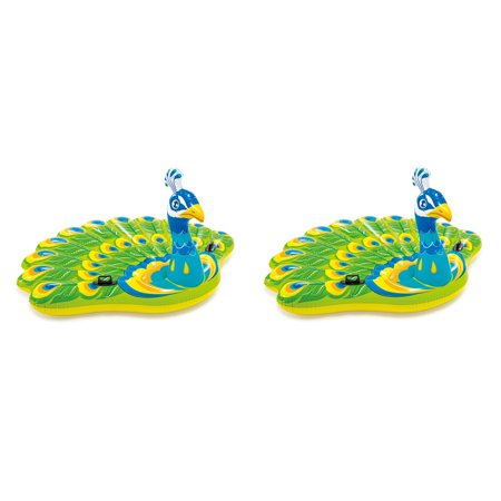 Intex Giant Inflatable Colorful Peacock Island Ride On Pool Float Raft (2 Pack) (Giant Inflatable Raft)