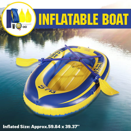 PVC 2-Person Durable Inflatable Boat Raft Set w/ Pump, 2 Oars & Safety Rope River Fishing Boat Swimming Float Boat Kayak Canoe Water Sports Outdoors 330.6lb