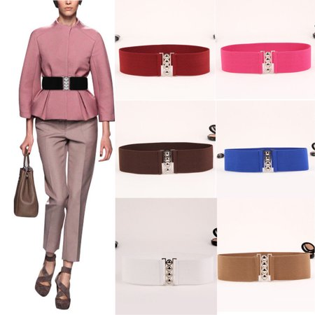 Women's Fashion Elastic Cinch Belts 3Inch Wide Stretch Waist Band Clasp Buckle