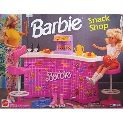Barbie snack shop playset w counter, soda machine ; more (1992 arcotoys, mattel)
