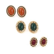 TAZZA WOMEN'S OLIVE PEACH AND CORAL OVAL STUD EARRINGS