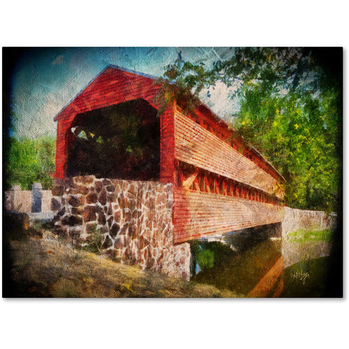 "Trademark Fine Art ""Old Covered Bridge"" Canvas Art by Lois Bryan"