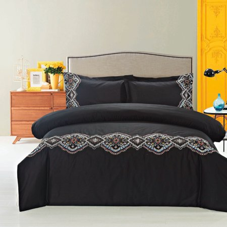 Melange Home Broderie ensemble housse de couette Collection Morocco Duvet Cover Set Black