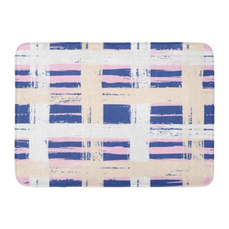 GODPOK Bold Plaid with Wide Brushstrokes and Stripes in Multiple Pastel Colors White Navy Blue Pink and Organic Rug Doormat Bath Mat 23.6x15.7 inch](Navy Blue And Pink)