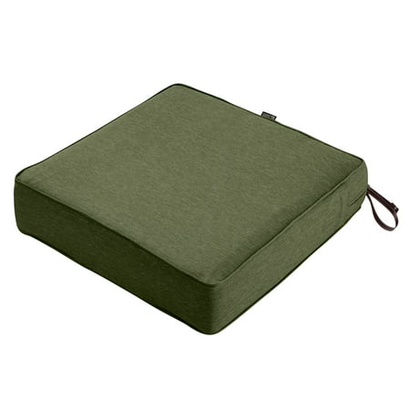 "Classic Accessories Montlake FadeSafe Square Patio Lounge Seat Cushion - 5"" Thick - Heavy Duty Outdoor Patio Cushion with Water Resistant Backing, Heather Fern Green, 19""W x 19""D x 5""T"