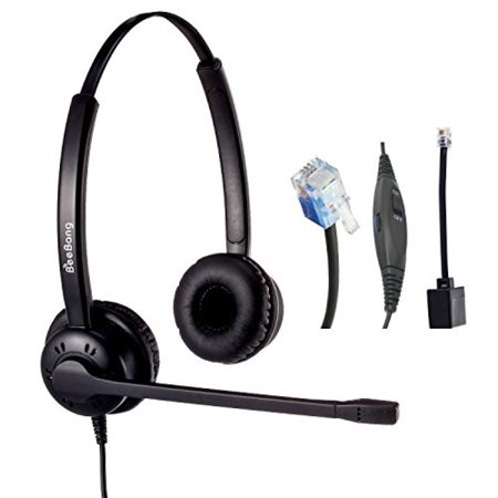 telephone headset dual ear corded rj9 headset with noise. Black Bedroom Furniture Sets. Home Design Ideas