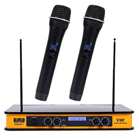 EMB - EBM60E Yellow VHF Dual Wireless Handheld Microphone System with Echo Feature. Great for Karaoke, DJ, PA, Presentation, Liv ()
