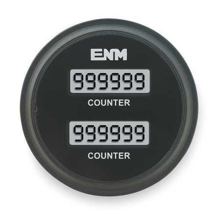 ENM T39AA Hour Meter, LCD, 2.33 In, Flush Round