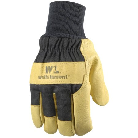 Insulated Grain Pigskin Lined Leather Palm Gloves for Men, (Mens Grain Leather Gloves)