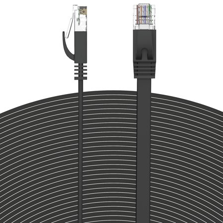Fosmon Ethernet Cable Flat (50 Feet - Black), Supports RJ45 Cat6 / Cat5e / Cat5 Standards, 250MHz, 1.0Gbps - Computer Networking Patch Cable (50' Cat6 Networking Cable)