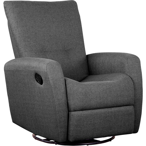Shermag Fabric Motion Chair with Push-Button Recline, Charcoal