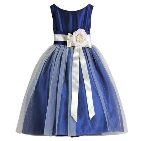 sweet kids girls royal blue floral accent junior bridesmaid dress 7-12