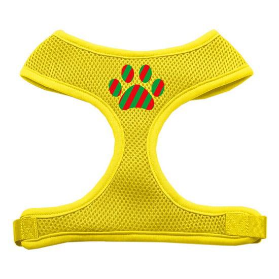 Christmas Paw Screen Print Soft Mesh Harness Yellow Medium