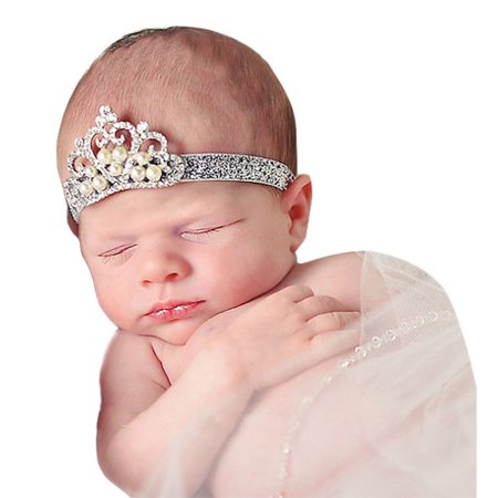 Outtop Crown hair band Princess Baby Girl Crystal Pearl Crown Hairband D](Princess Peach Crown For Sale)