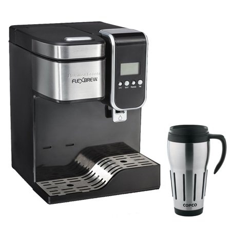 Coffee Maker With Thermal Travel Mug : Hamilton Beach Single-Serve Coffee Maker, Programmable FlexBrew with Hot Water Dispenser with ...
