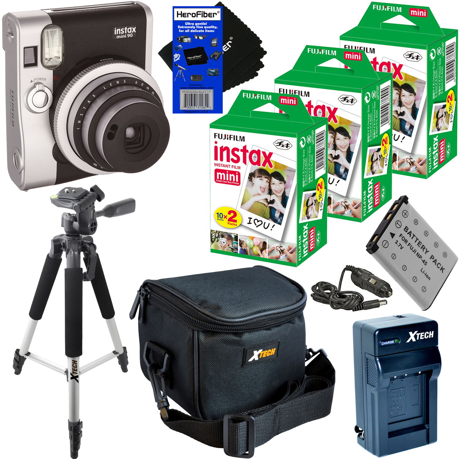 FujiFilm Instax Mini 90 Neo Classic Instant Film Camera (Black) + Instax Mini Instant Film (60 SHeets) + Full... by Fujifilm