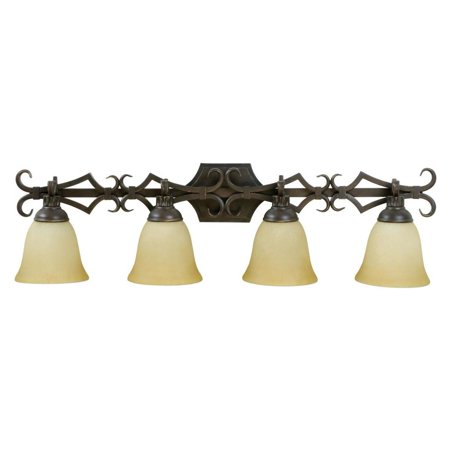 Aged Bronze Florence 4 Light Bathroom Vanity Light - 35 Inches Wide