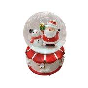 Christmas Crystal Ball Music Box Floating Snow with Lights