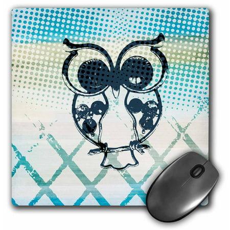 3dRose Aqua Owl Steam punk retro art, Mouse Pad, 8 by 8 inches