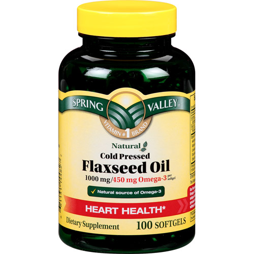 Spring Valley Flaxseed Oil Softgels, 1000 mg, 100 count
