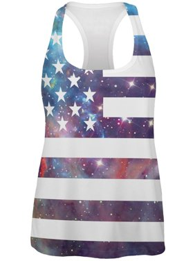 1e4f7afa8084 Product Image 4th of July Galaxy American Flag All Over Womens Racerback  Tank Top