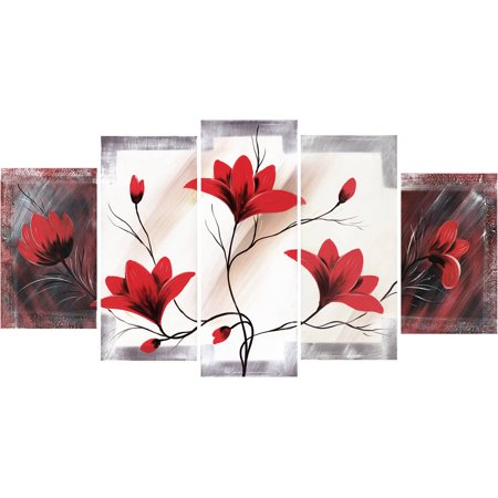 Design Art Red Flower Canvas Art, 5 Pieces, 60