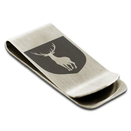 Stainless Steel Stag Purity Coat of Arms Shield Engraved Money Clip Credit Card - Stag Clip Point