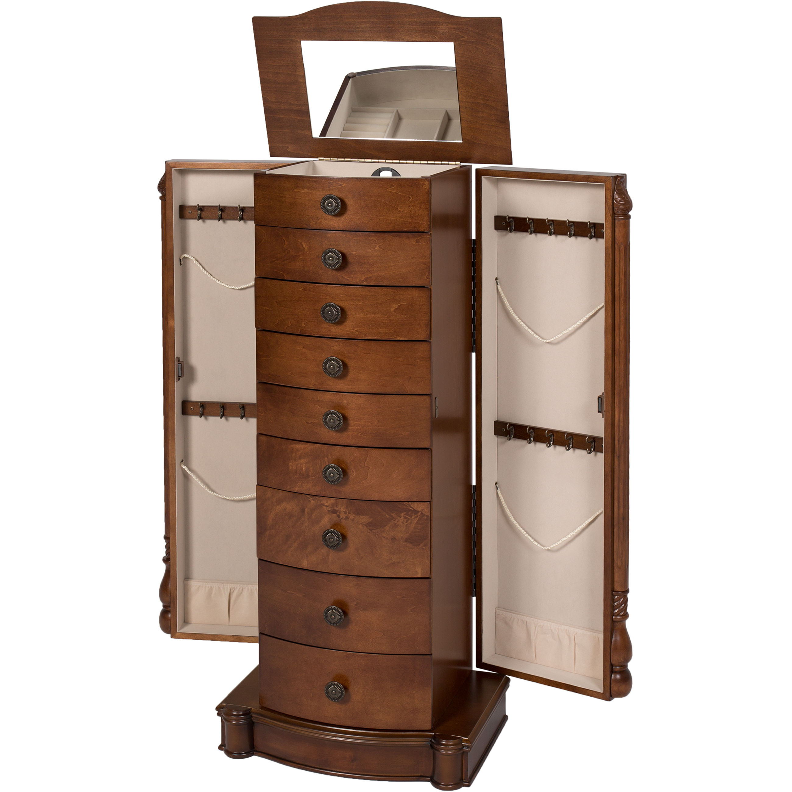 Beau Armoire Jewelry Cabinet Box Storage Chest Stand Organizer Necklace Wood  Walnut   Walmart.com