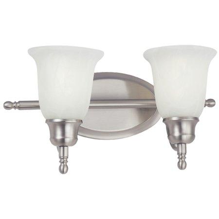NICOR Lighting 18-Inch 26-Watt Double Vanity Wall Sconce with Alabaster Glass Shade, Nickel (34475-213NK) - Double Nickel Birthday