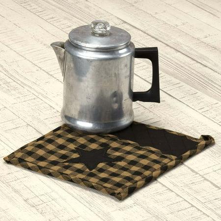 Raven Black Primitive Tabletop Kitchen Cody Black Star Fabric Loop Cotton Appliqued Pocket Star Pot Holder
