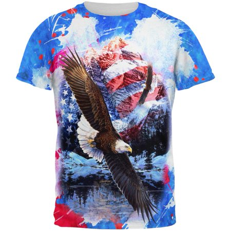 4th of July American Flag Bald Eagle Splatter All Over Mens T - Eagle Mens Shirt