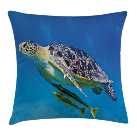 Turtle Throw Pillow Cushion Cover, Cute Angry Looking Sea Turtle Swimming with Remora Fishes Fauna Under the Sea, Decorative Square Accent Pillow Case, 16 X 16 Inches, Blue Yellow Brown, - Sea Turtle Pillow