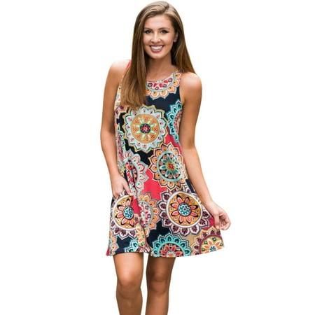 Mosunx Womens Summer Vintage Boho Maxi Evening Party Beach Floral Dress
