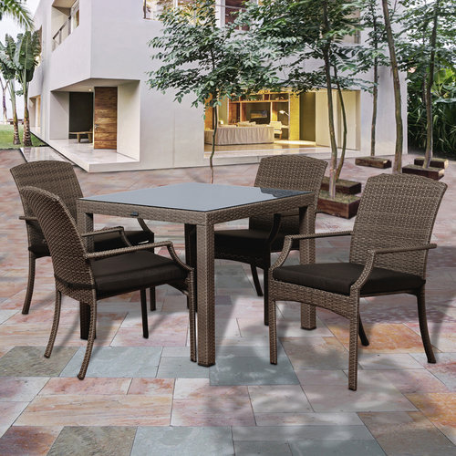 Rolland 5-Piece Grey Synthetic Wicker Square Patio Dining Set with Grey Cushions