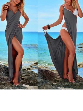 Plus Size Women's Spaghetti Strap Beach Dresses Cover Up Bikini Cover Up Wrap Swimsuit V-Neckline Backless Long Dress