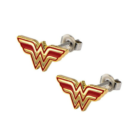 Official Logo Earrings (Wonder Woman Comics Earrings Stainless Steel Post with Logo Stud Earrings )