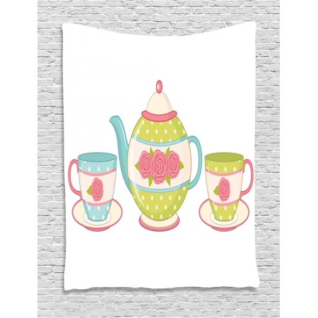 Tea Tapestry, Classic Porcelain Teapots with Floral Ornamental Cups for Vintage Feminine Afternoon, Wall Hanging for Bedroom Living Room Dorm Decor, 40W X 60L Inches, Multicolor, by Ambesonne