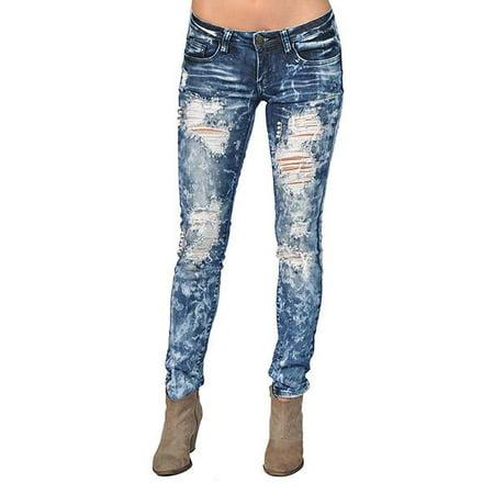 Machine Ripped Faux Pearl Medium Wash Skinny Denim Jeans