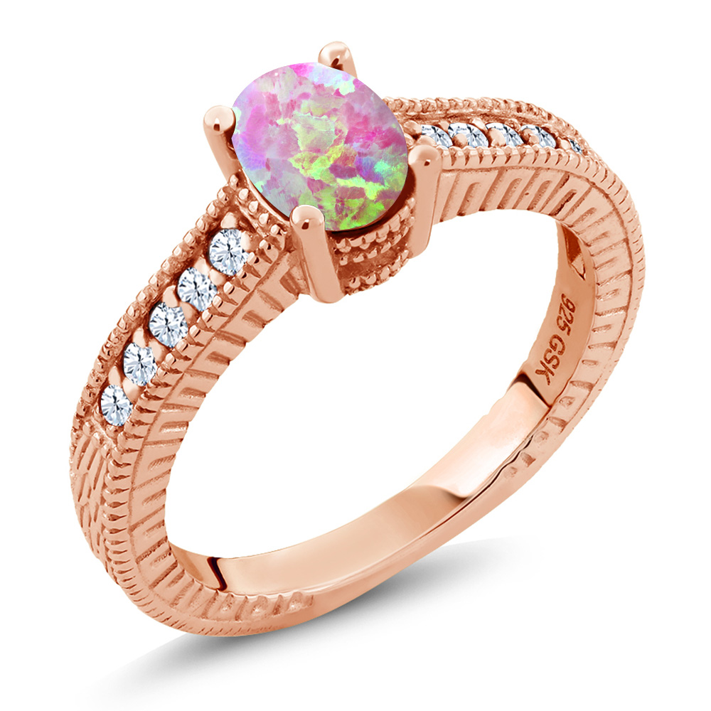 Cabochon Pink Simulated Opal Created Sapphire 18K Rose Gold Plated Silver Ring by