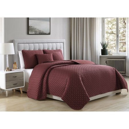 Sateen Quilt (Cozy Beddings Escape Quilted Coverlet Set Soft Satin Lightweight leaves Pattern | Burgundy)
