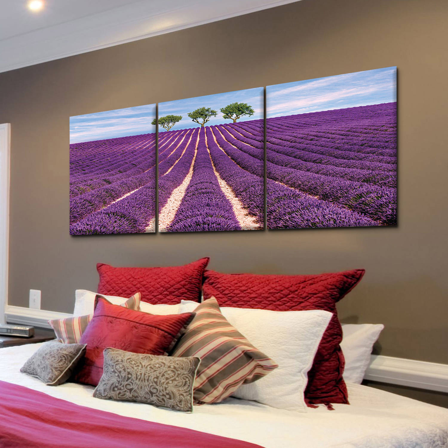 """Furinno SENIC Lavender Field 3-Panel Canvas on Wood Frame, 60"""" x 20"""""""