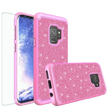 Galaxy S9 Case, Samsung Galaxy S9 Glitter Case with HD Screen Protector, Luxury Bling Cute Girls Women PC Silicone Leather Heavy Duty Protective Phone Cases for Galaxy S9 (Hot Pink)