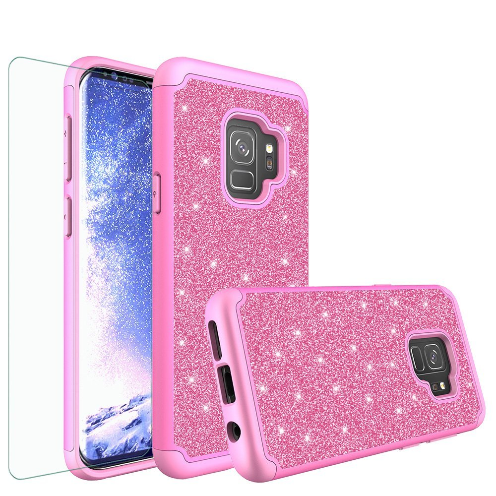 Samsung Galaxy S9 Glitter Case w/ HD Screen Protector, Slim Luxury Bling Dual Layer Hybrid Shockproof Cover - Hot Pink